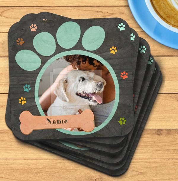 Dog Paw Print Photo Coaster