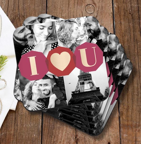 I Love You Multi Photo Coaster