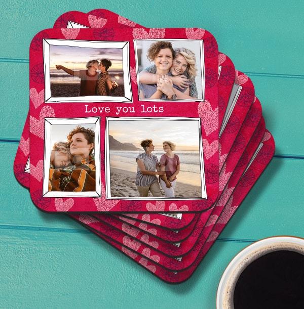 Love You Lots Multi Photo Coaster
