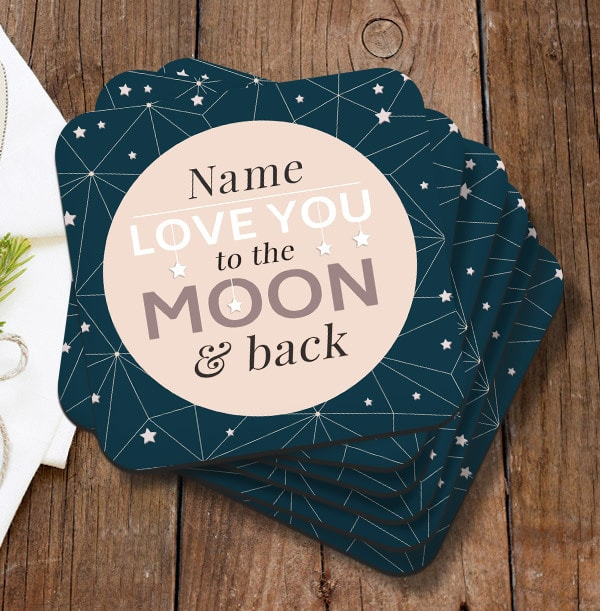 To The Moon & Back Personalised Coaster
