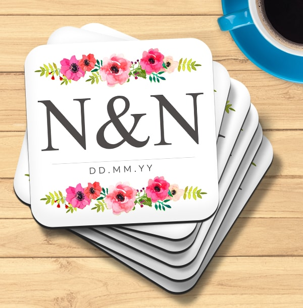 Floral Initials & Date Personalised Coaster