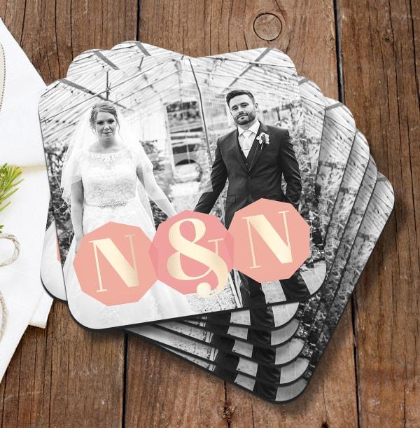 Initials & Photo Wedding Coaster