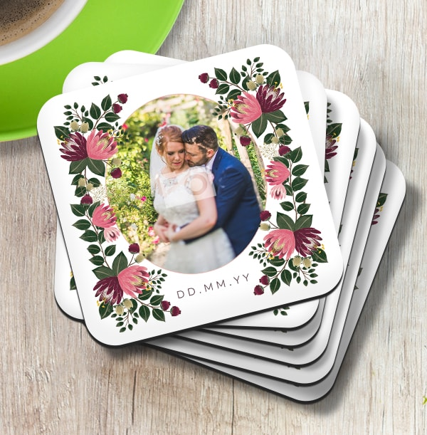 Floral Wedding Date & Photo Coaster