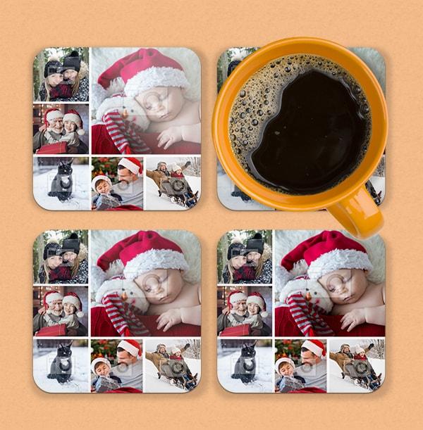 Christmas Collage Photo Coaster