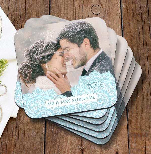 Snowflake Mr & Mrs Photo Coaster