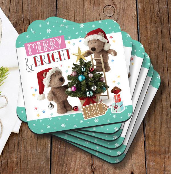 Merry & Bright Barley Bear Personalised Coaster