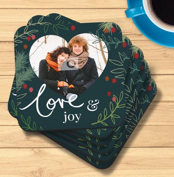 Love and Joy Photo Personalised Coaster