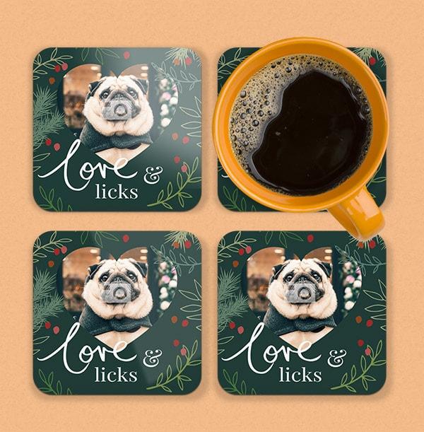 Love and Licks Photo Personalised Coaster