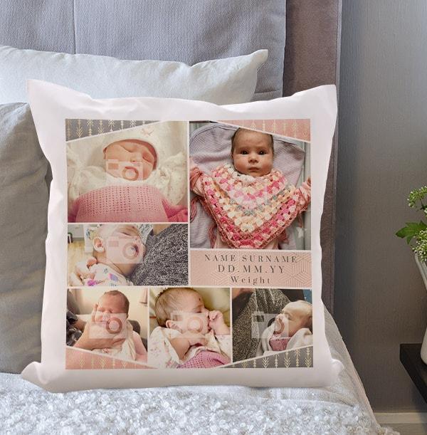 Baby Girl Multi Photo Cushion