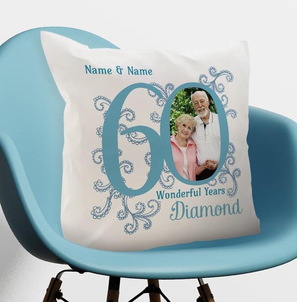 60th Diamond Wedding Anniversary Cushion