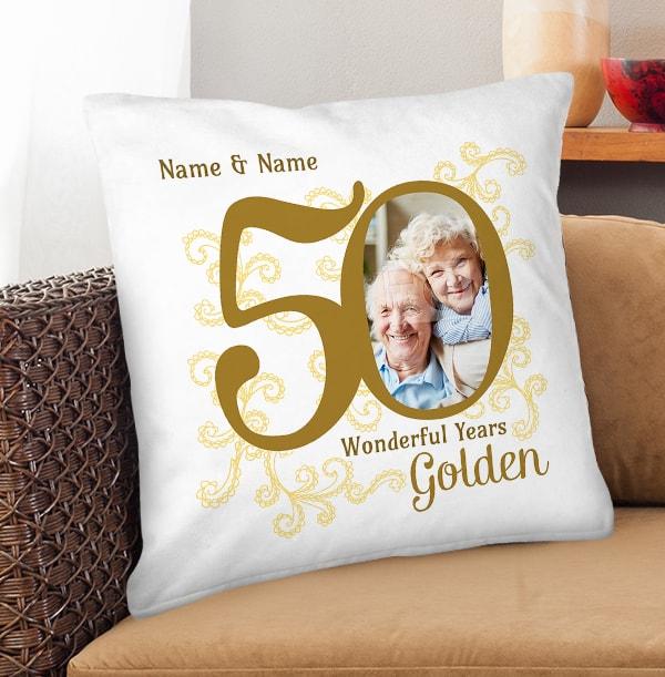 50th Gold Wedding Anniversary Cushion