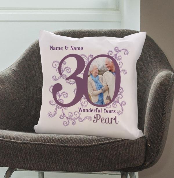 30th Pearl Wedding Anniversary Cushion