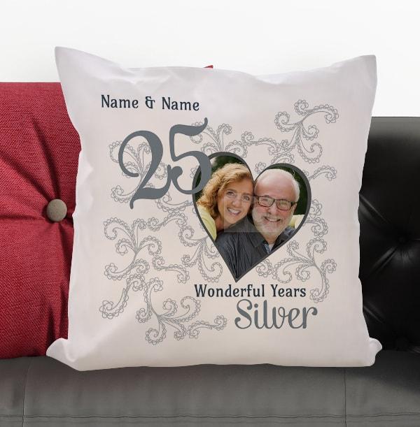 25th Silver Wedding Anniversary Cushion