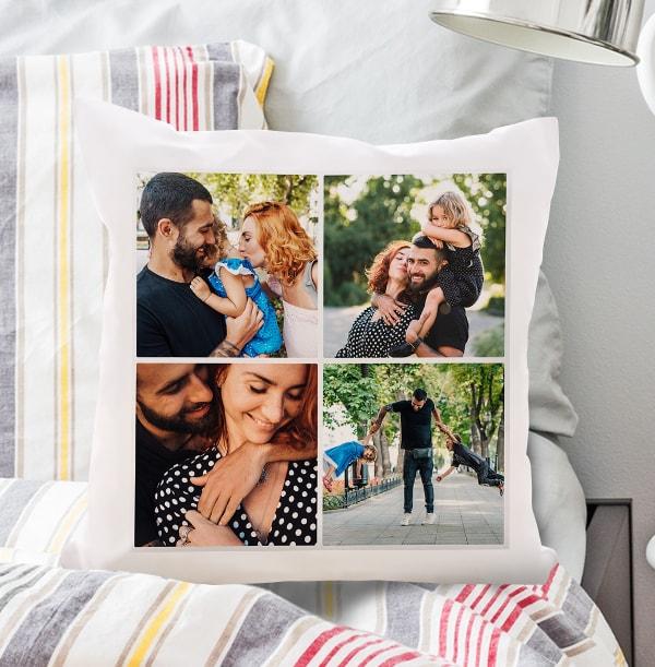 Dad Four Photo Upload Cushion