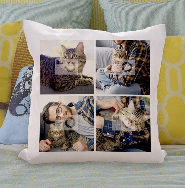 Cat Four Photo Upload Cushion