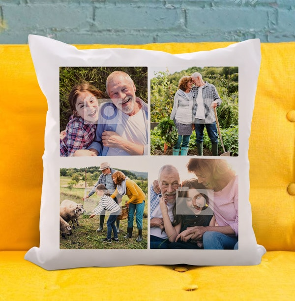 Grandparents Four Photo Cushion