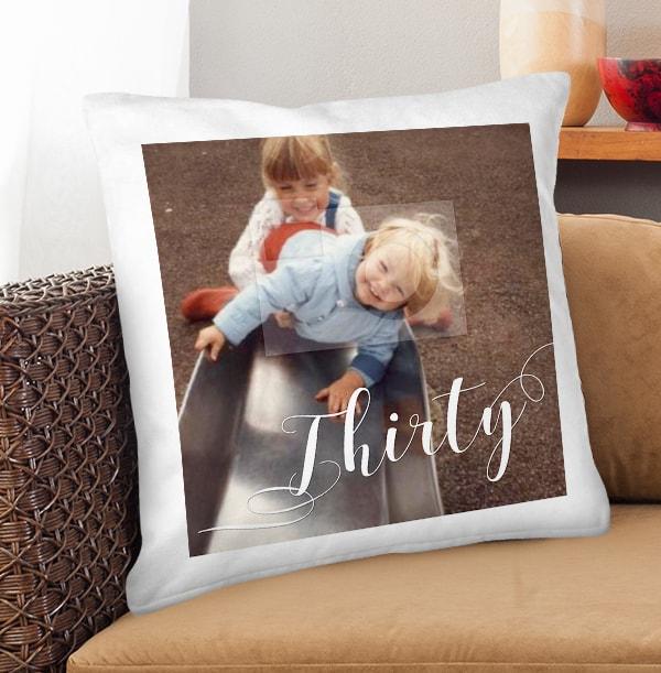 30th Birthday Photo Upload Cushion