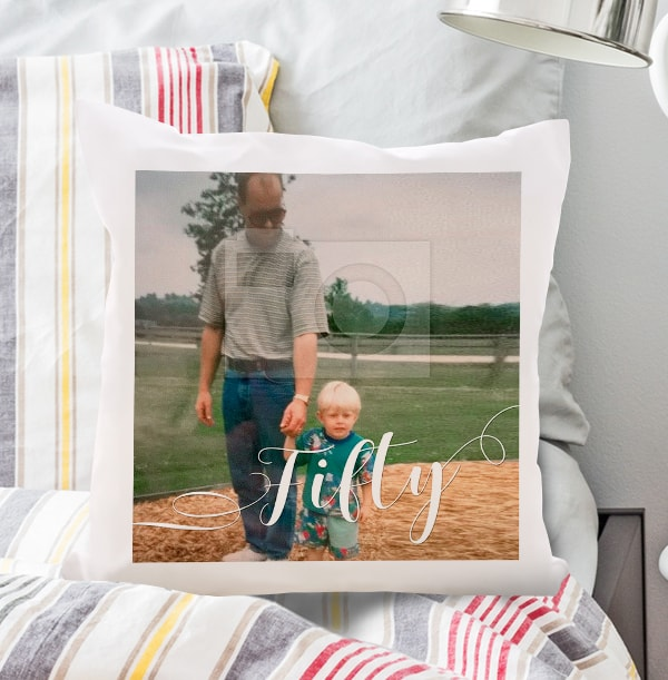50th Birthday Photo Upload Cushion