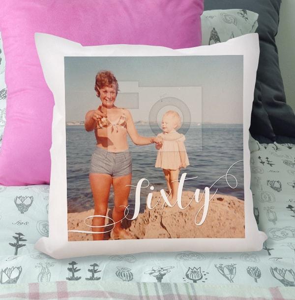 60th Birthday Photo Upload Cushion