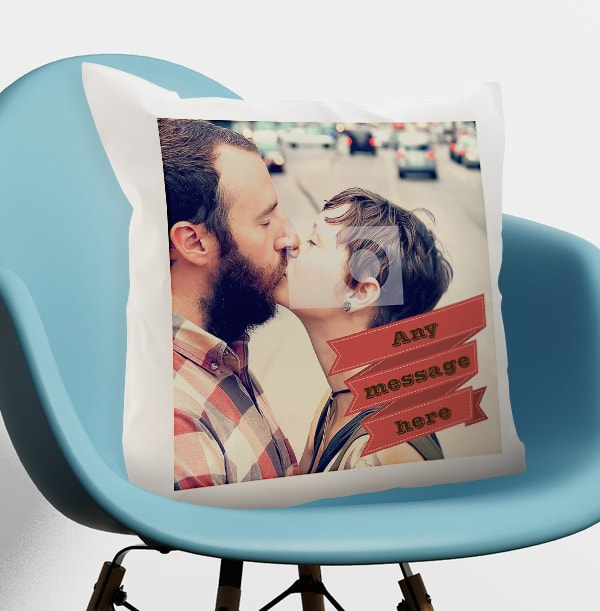 Red Banner Photo Cushion
