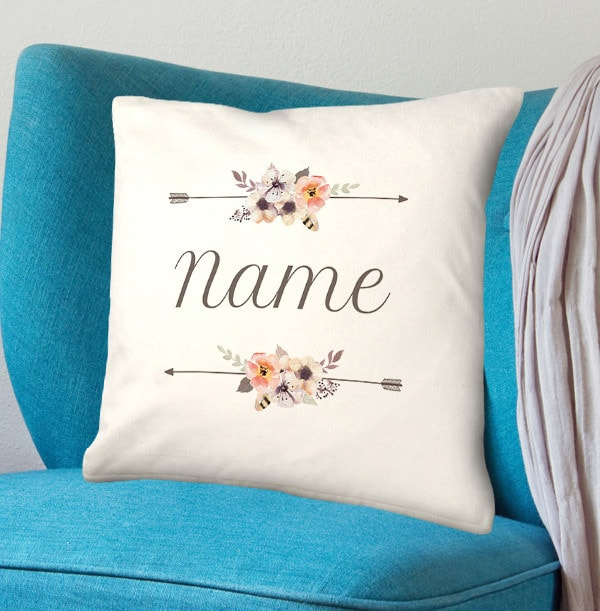 Floral Arrows Personalised Name Cushion