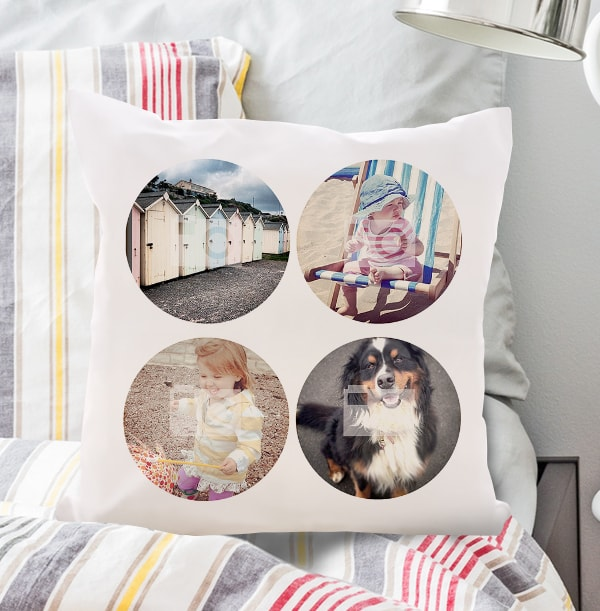 4 Photo Circle Collage Cushion