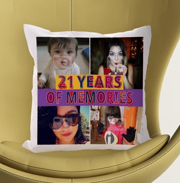 21 Years Of Memories Photo Cushion