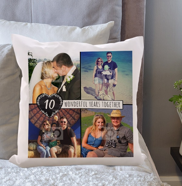 10 Wonderful Years Multi Photo Cushion