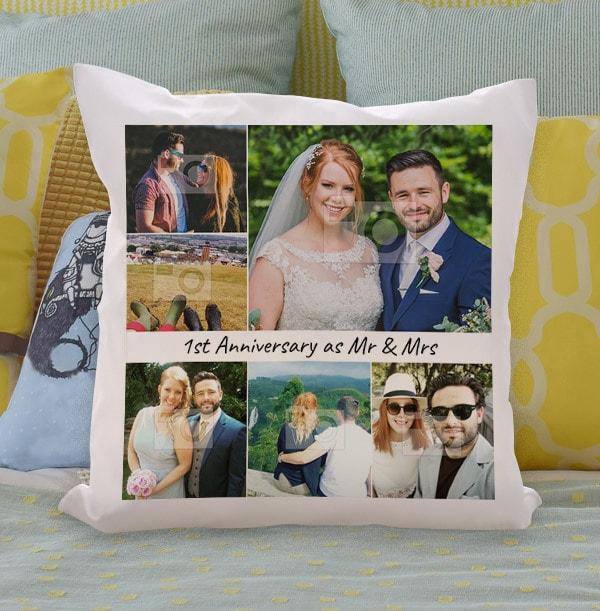 1st Anniversary Multi Photo Cushion