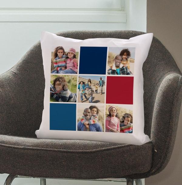 Colour Blocks Photo Collage Cushion