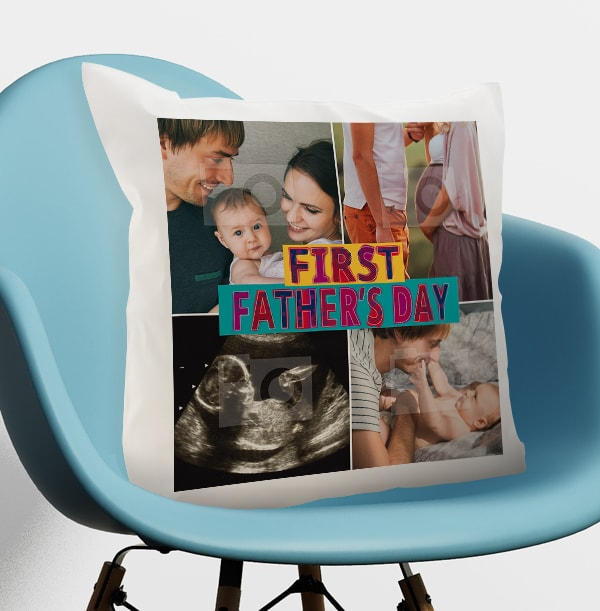 First Father's Day Multi Photo Cushion