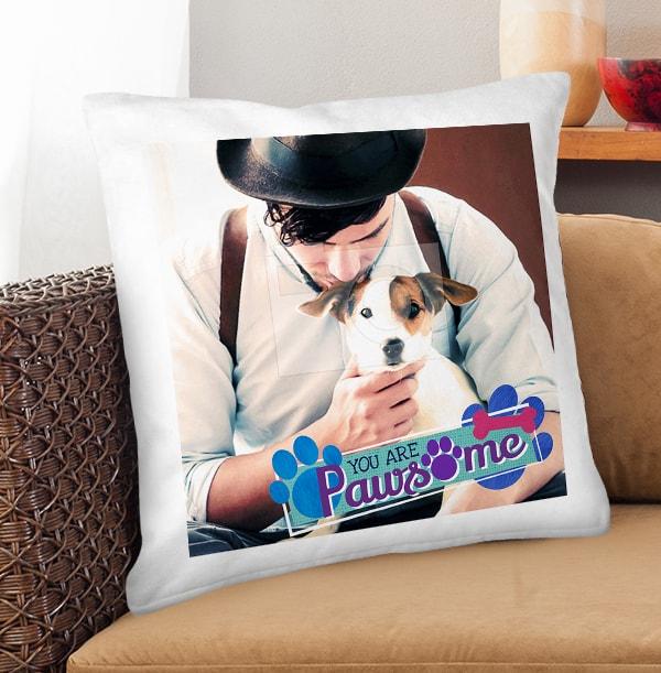 Pawsome Dog Photo Cushion