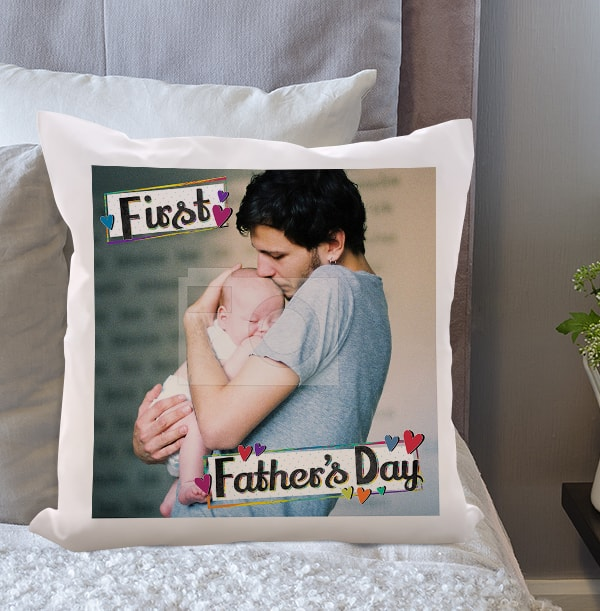 First Father's Day Photo Cushion