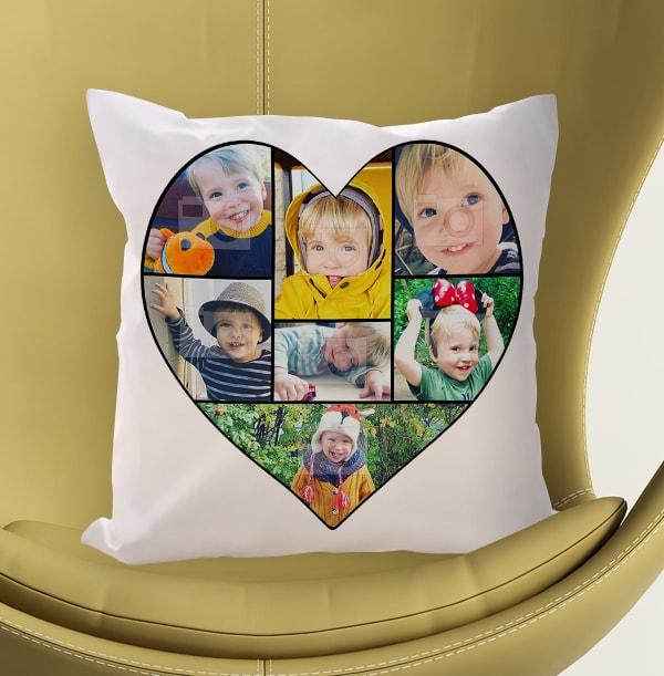 Heart Photo Collage Cushion