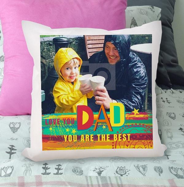 Love You Dad Rainbow Photo Cushion
