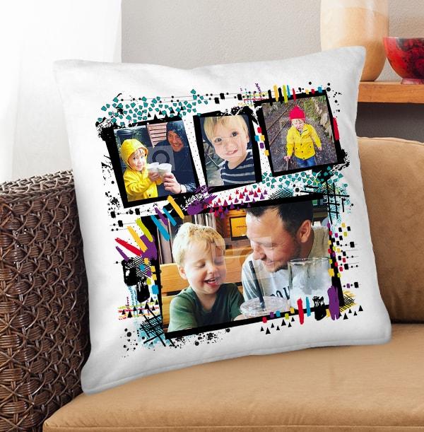 Personalised 4 Photo Collage Cushion
