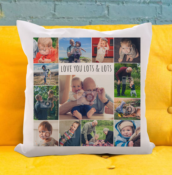 Love You Lots and Lots Multi Photo Cushion