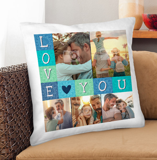 Love You Multi Photo Upload Cushion
