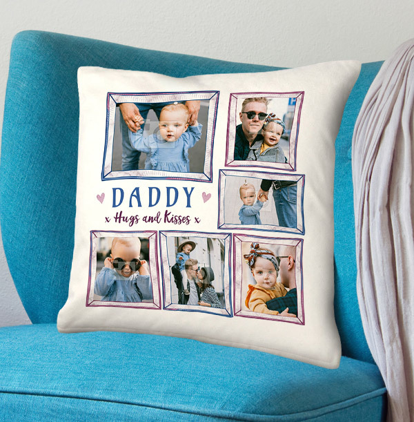 Daddy Hugs and Kisses Multi Photo Cushion