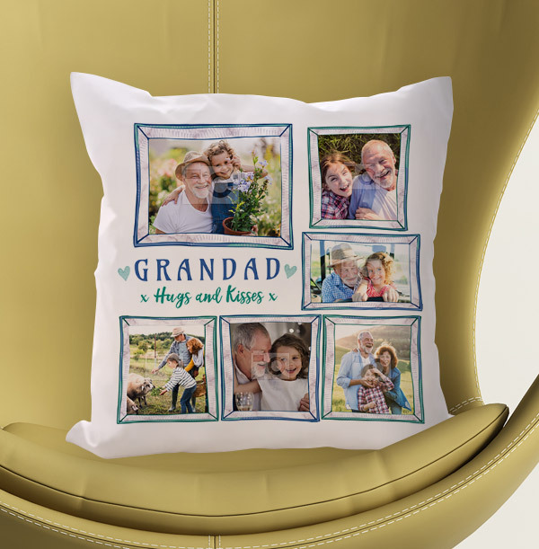 Grandad Hugs and Kisses Multi Photo Cushion