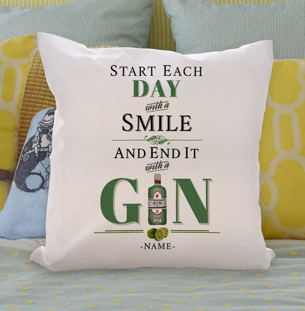 End Each Day With Gin Personalised Cushion