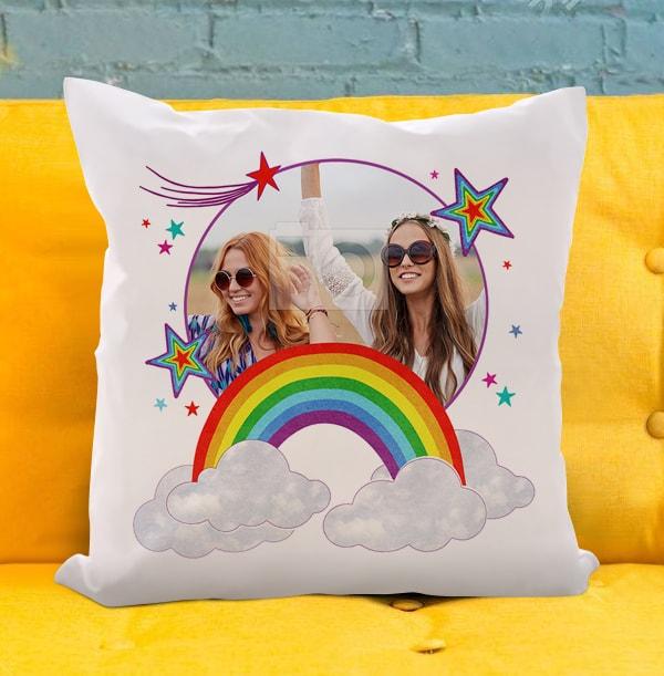Personalised Photo Rainbow Cushion