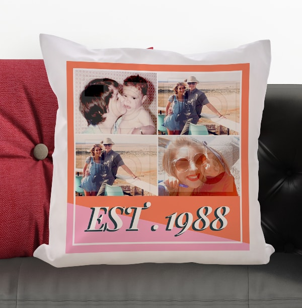Year Established Pink Photo Collage Cushion