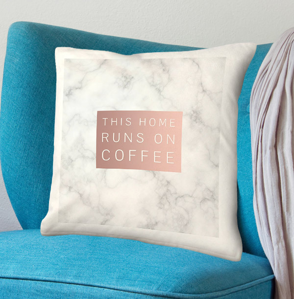 This Home Runs On Coffee Personalised Cushion