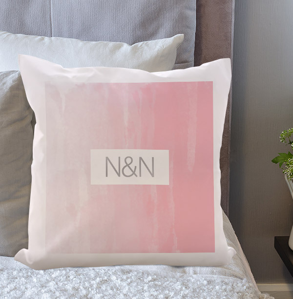 Pink and Grey Personalised Initials Cushion