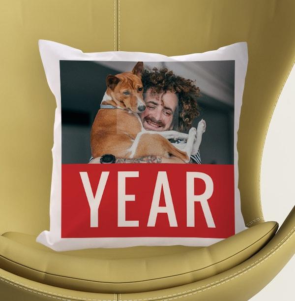 Personalised Year Photo Cushion