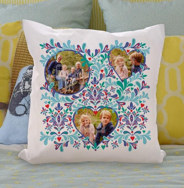 3 Photo Floral Photo Cushion