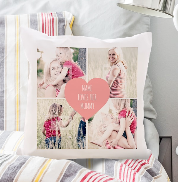 Pink Heart Photo Collage Cushion