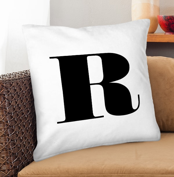 Black Initial Personalised Cushion