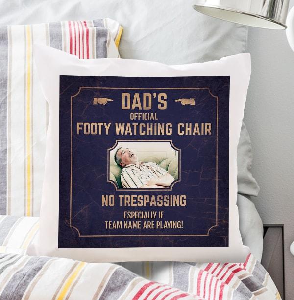 Dad's Footy Watching Chair Photo Cushion